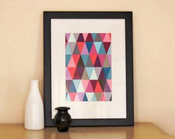 Obraz z papírových trojúhelníků