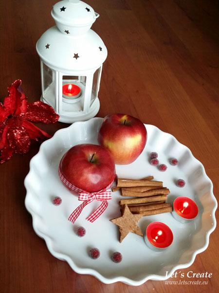 Vánoční dekorace s jablíčky